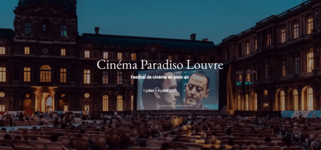 An open-air cinema at the Louvre